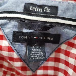 Tommy Hilfiger Shirts - NEW Tommy Hilfiger XL red&White Mens Shirt